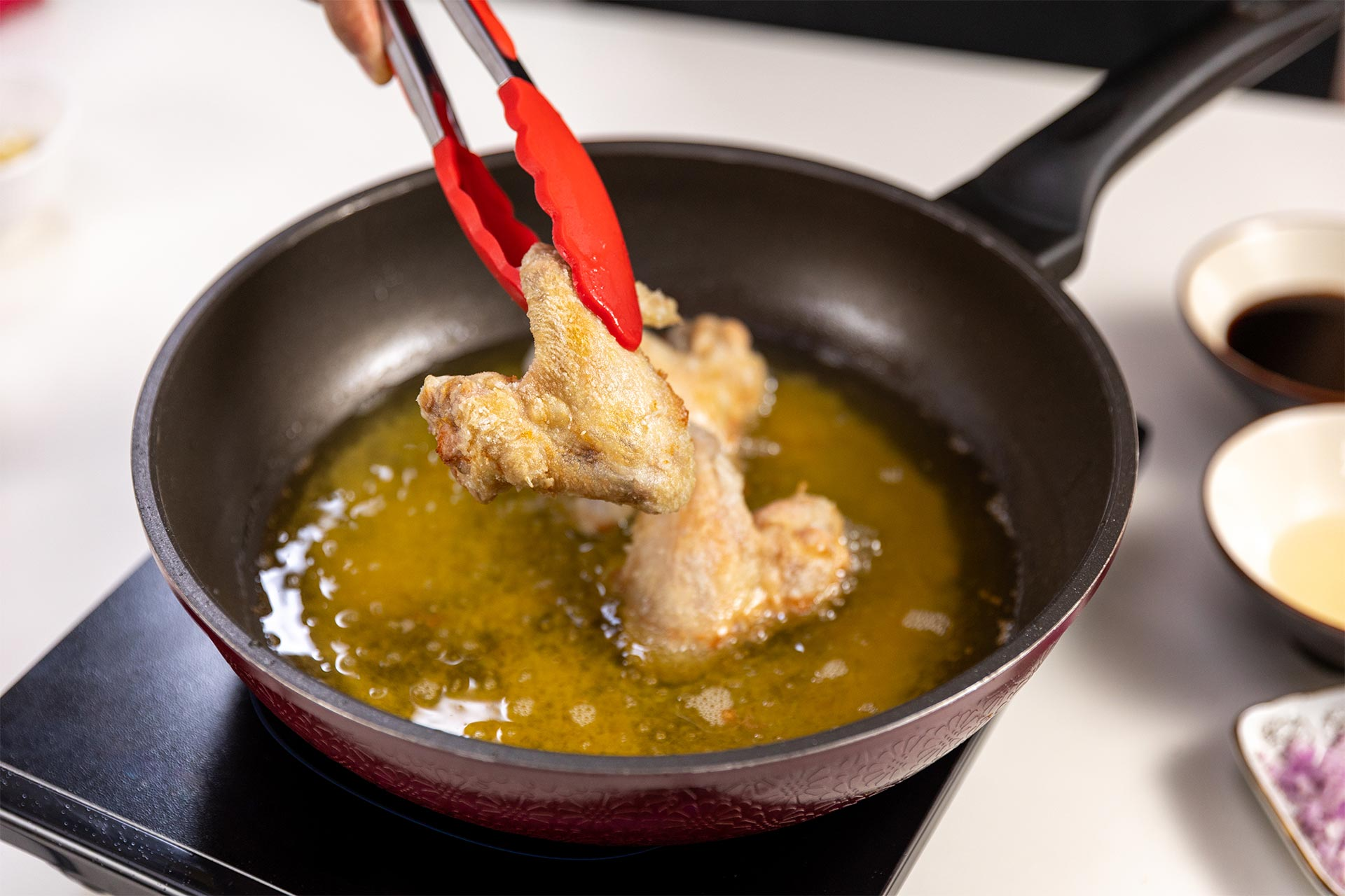Making the fried chicken