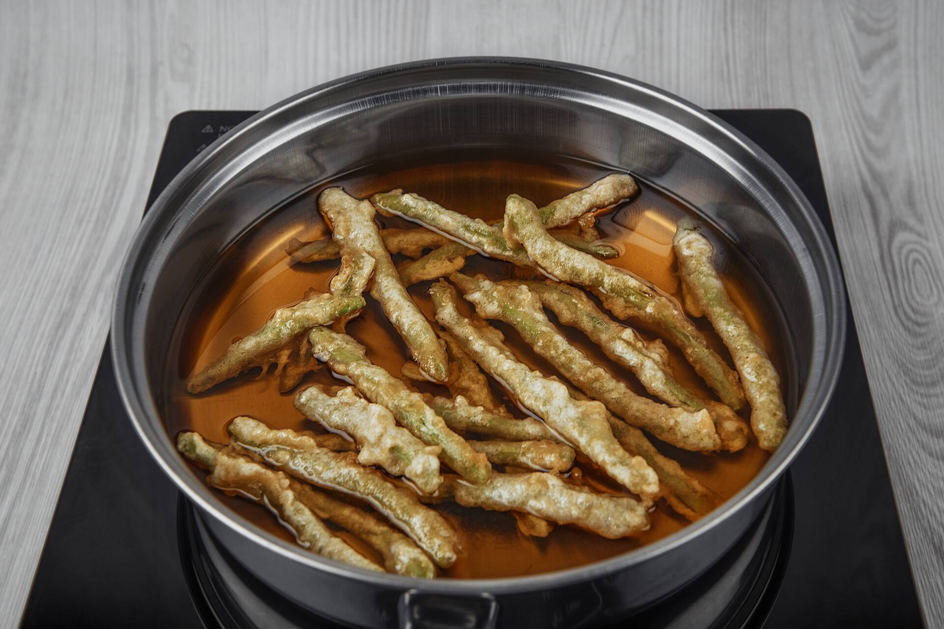 Fry the green beans