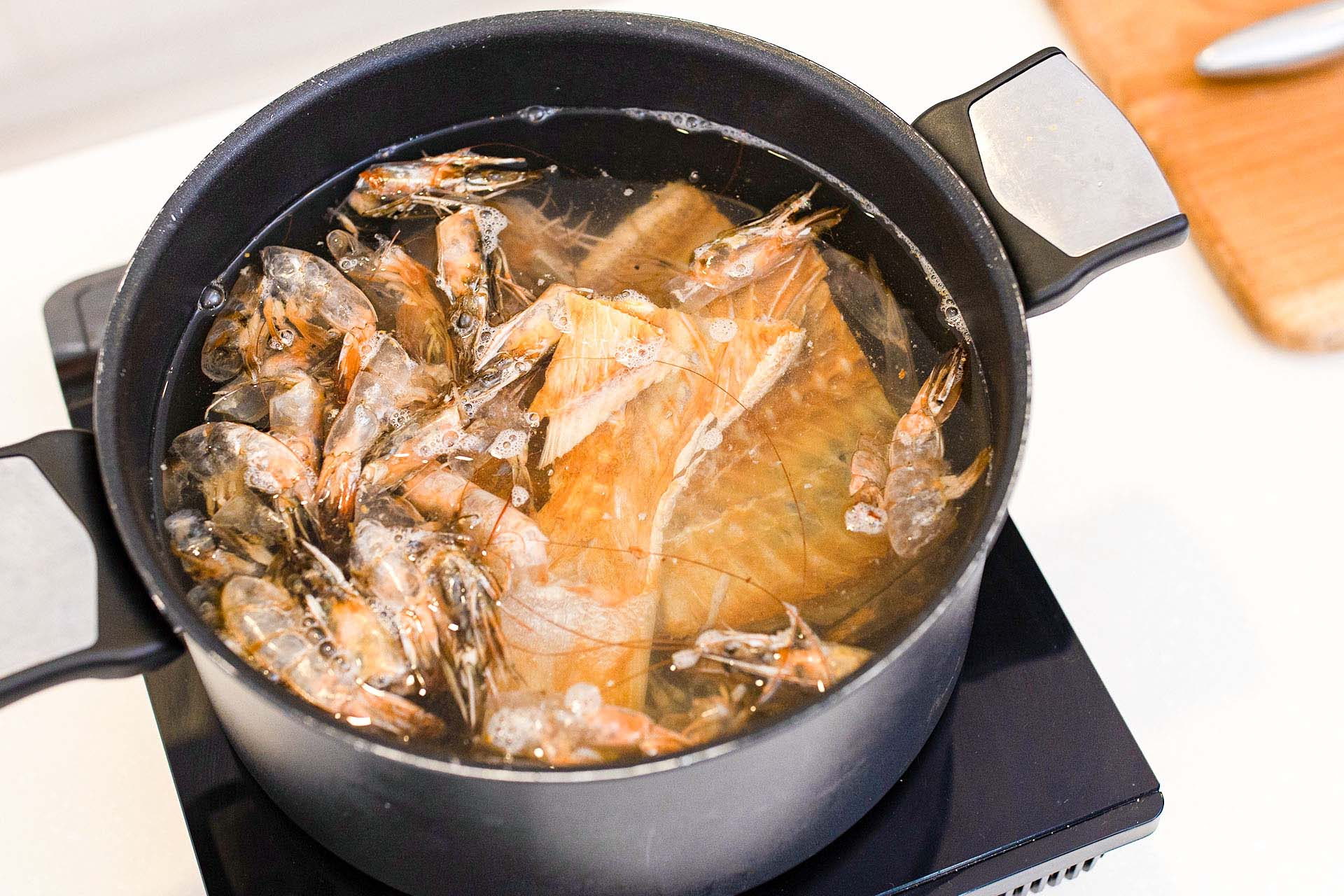 Prepare the Fish Stock and Sambal Belacan (can do a day in advance)