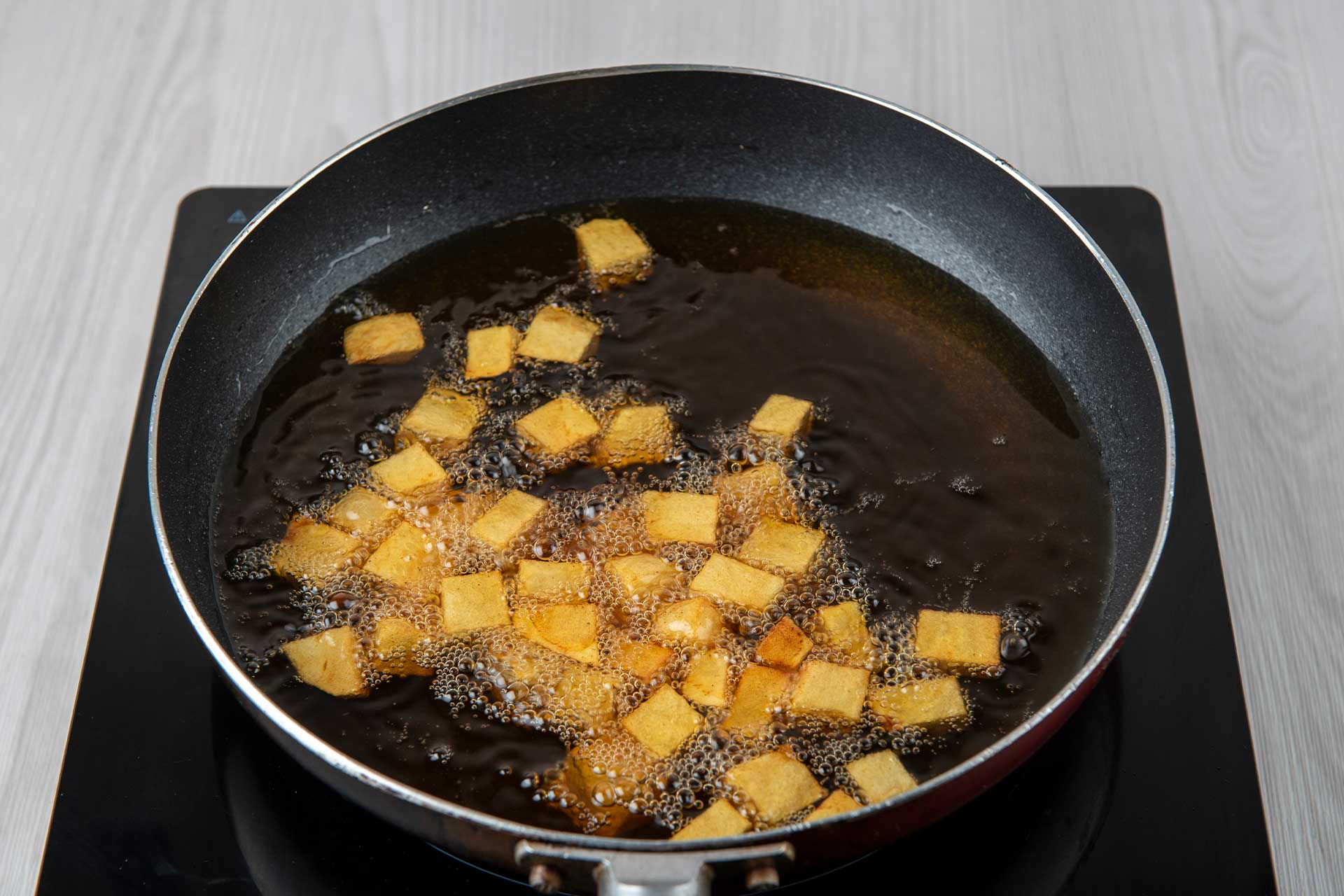 Cook the beef gravel and potatoes