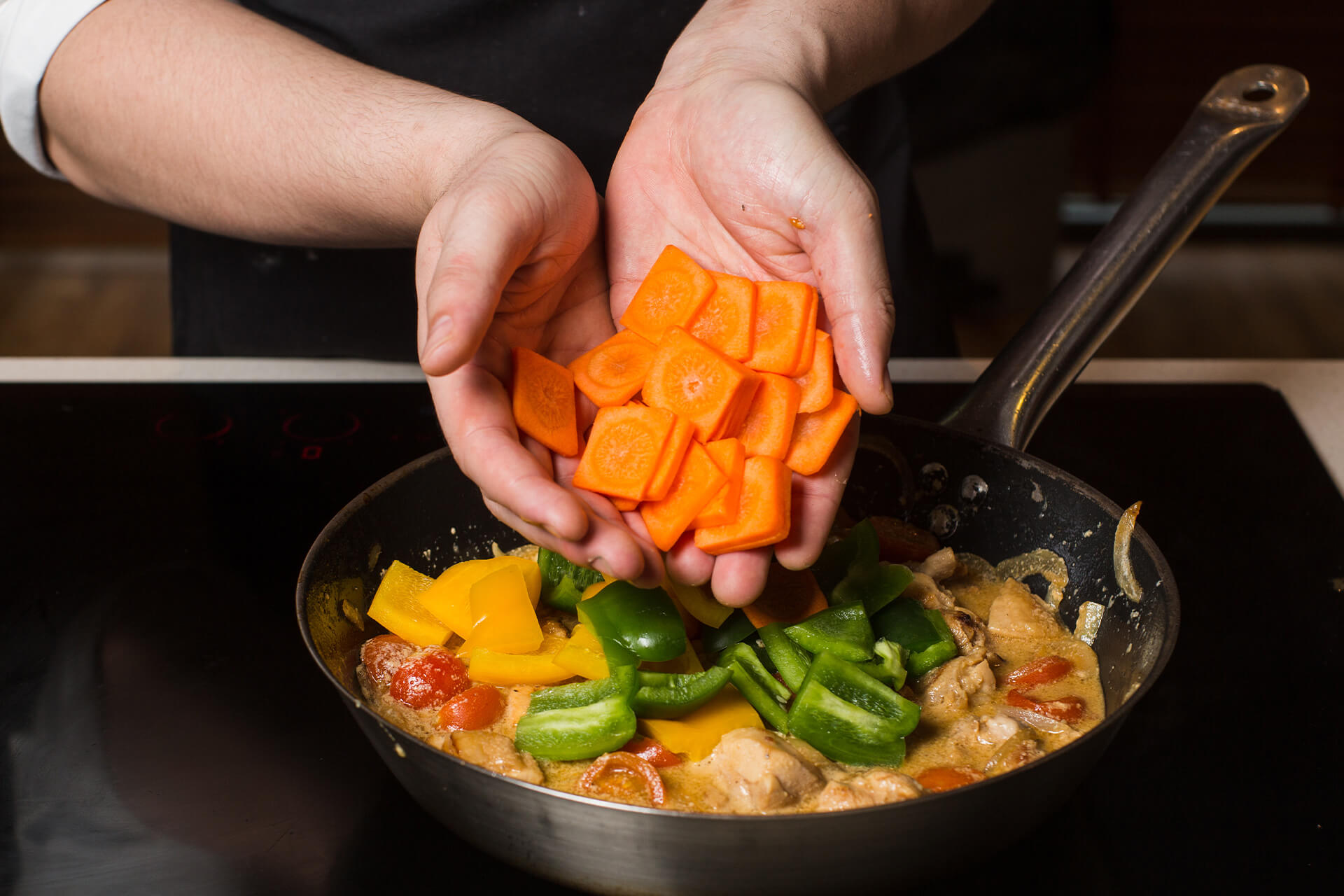 Stir-fry and simmer chicken and vegetables
