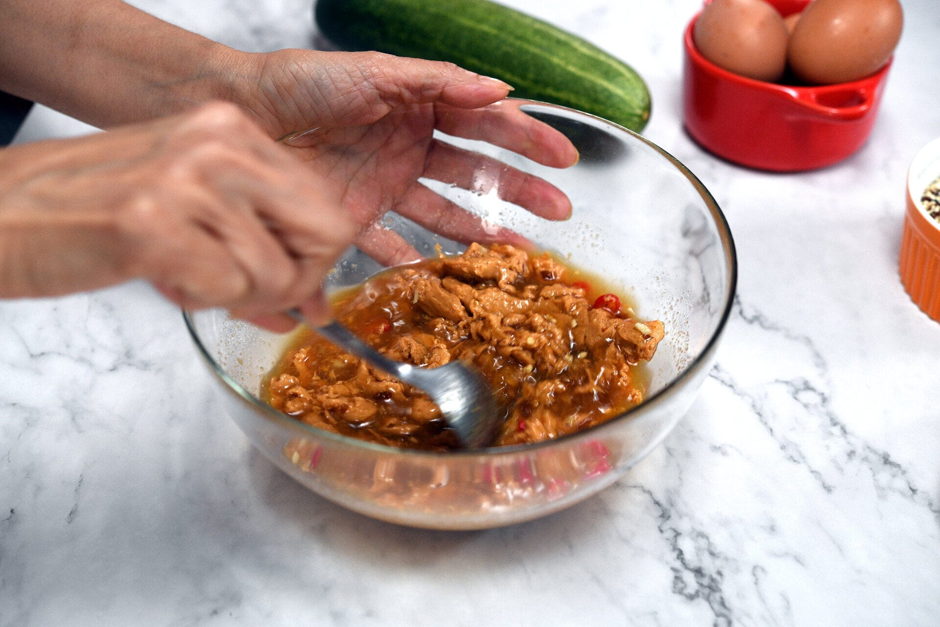 Mix sauce ingredients and blanch vegetables