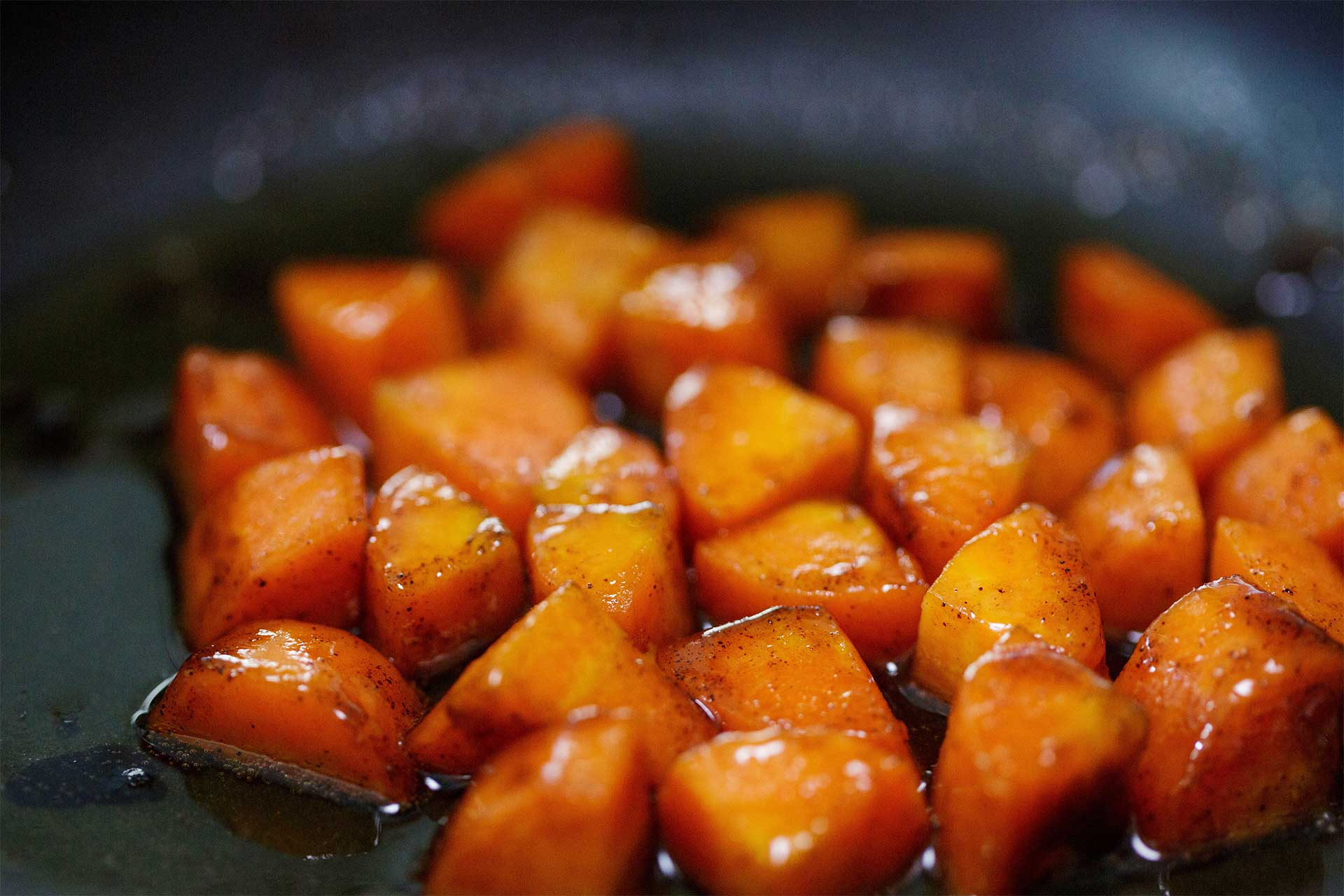 Making the honey glazed carrots