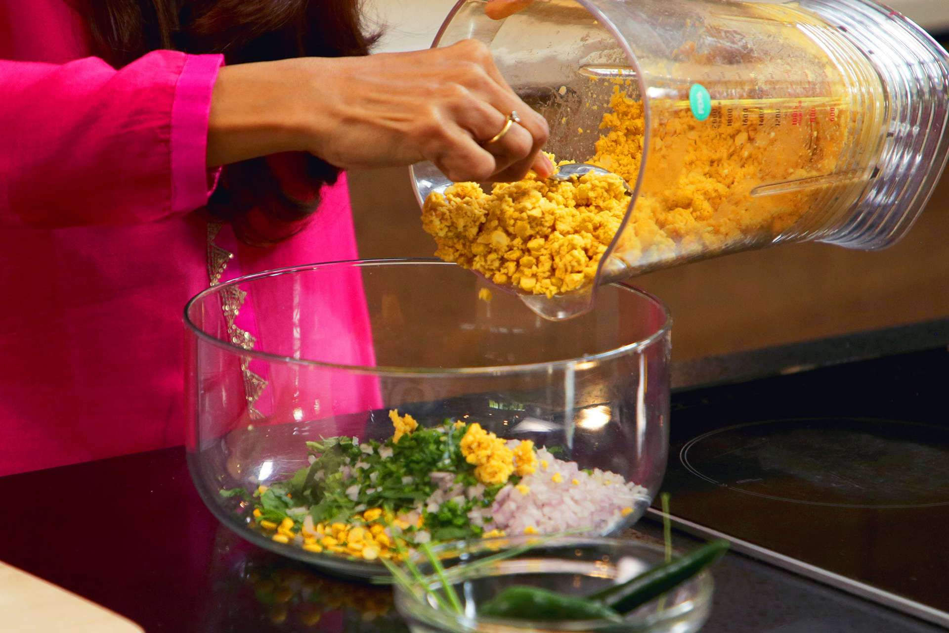 Mix chopped ingredients with dahl
