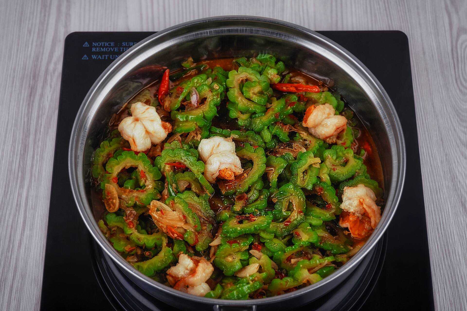 Add in the pare and shrimp